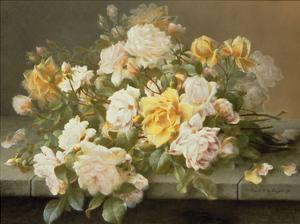 Pink And Yellow Roses by Raoul De Longpre
