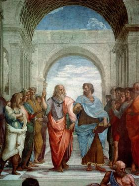 Aristotle and Plato: Detail from the School of Athens in the Stanza Della Segnatura, 1510-11 by Raphael