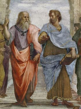 Aristotle and Plato: Detail of School of Athens, 1510-11 (Fresco) (Detail of 472) by Raphael