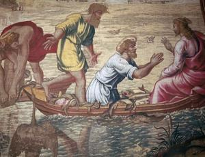 Cartoon of the miraculous draft of fishes, 15th century by Raphael