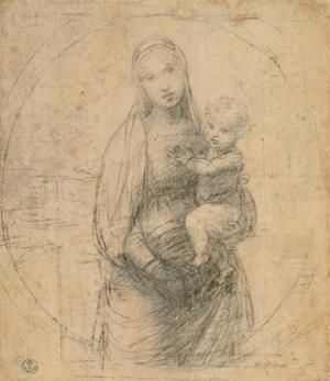 Drawing, Madonna and Child at two thirds figure by Raphael