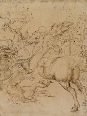 Drawing, St. George Killing the Dragon with a Lance by Raphael