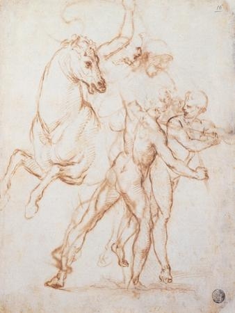 Drawing, Warrior Riding a Horse and Fighting against Two Standing Figures