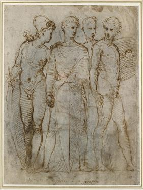 Group of Warriors (Donatello's St George at Orsanmichele in the Centre) (Pen and Brown Ink on White by Raphael