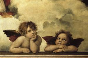 La Madone sixtine Detail shozing two cherubs from a fresco by Raphael