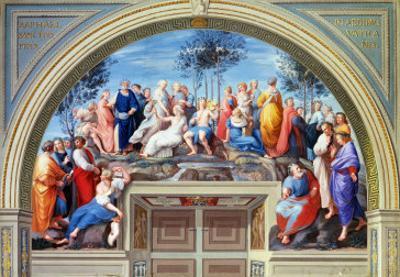 Parnassus and the Disputa, Stanza Della Segnatura, Print by Giovanni Volpato and Raphael Morghen by Raphael