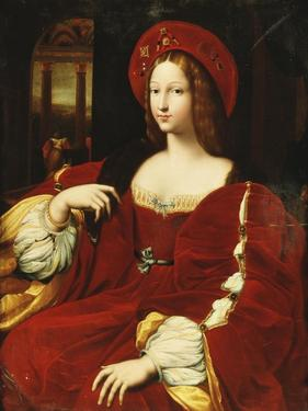 Portrait of Giovanna of Aragon, Seated Three-Quarter Length, in Her Chamber by Raphael