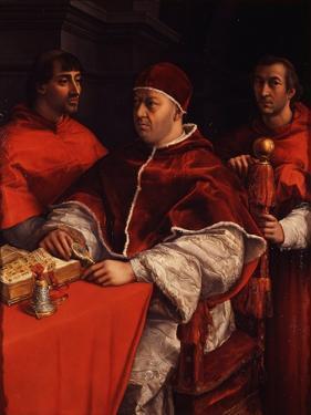 Portrait of Pope Leo X with Cardinals Giulio De' Medici and Luigi De' Rossi, Ca 1518 by Raphael