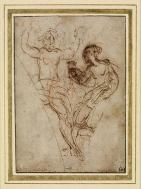 Psyche Presenting to Venus the Vase of Proserpine (Pen and Brown Ink over Red Chalk on Brownish Pap by Raphael