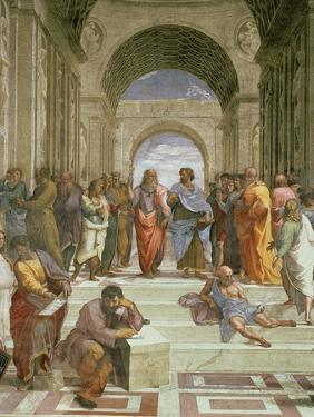 School of Athens, Detail of the Centre Showing Plato and Aristotle with Students by Raphael