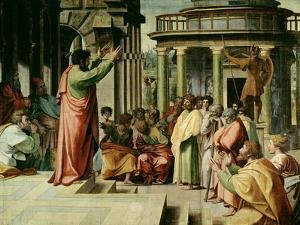 St. Paul Preaching at Athens (Sketch for the Sistine Chapel) (Pre-Restoration) by Raphael
