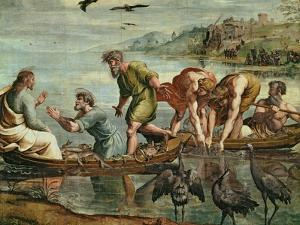 The Miraculous Draught of Fishes (Sketch for the Sistine Chapel) (Pre-Restoration) by Raphael