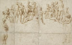 The Parnassus, Copy after Raphael (Pen and Brown Ink over Black Chalk on White Paper) by Raphael