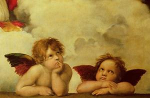The two angels. Detail of the Madonna Sistina. by Raphael