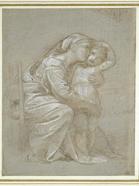 The Virgin and Child (Silverpoint, Heightened with White Bodycolour on a Slate Grey Preparation) by Raphael