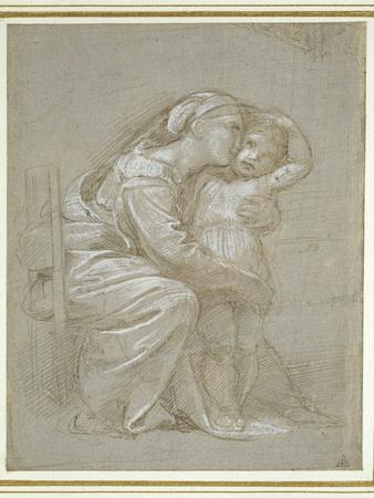 The Virgin and Child (Silverpoint, Heightened with White Bodycolour on a Slate Grey Preparation)