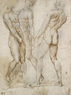 Three Nude Bearers (Pen and Brown Ink over Grey Chalk Outlines with Red Chalk on White Paper) by Raphael
