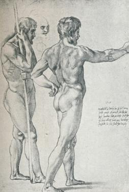 ''Two Nude Male Studies, Given by Raphael to Durer' 1515, (1912) by Raphael