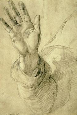 Upraised Right Hand, with Palm Facing Outward: Study for Saint Peter, 1518-20 by Raphael