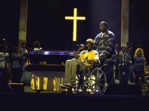 Rapper Snoop Doggy Dogg Performing in a Wheel Chair on Stage at Radio City Music Hall