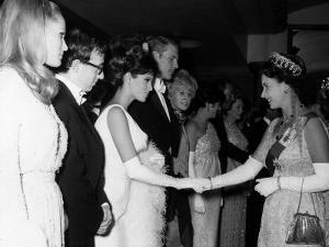 Raquel Welch Meets Queen Elizabeth in 1966 with Woody Allen and Ursula Andress
