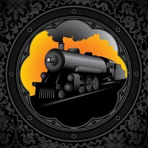 Vintage Background with Old Locomotive. Vector Illustration. by Rashomon