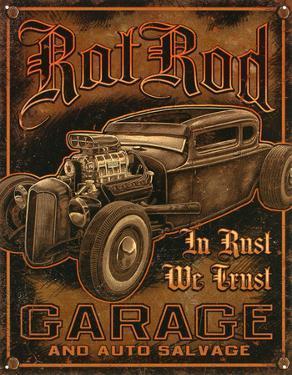 Rat Rod Garage Distressed Retro Vintage Tin Sign