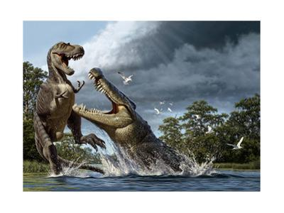 A Deinosuchus, an Alligator Ancestor, Lunges at an Albertosaurus by Raul D. Martin