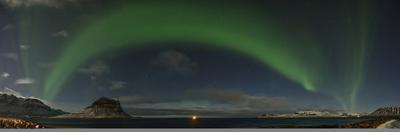 Panorama Image of Northern Lights over Grundarfjordur Bay by Raul Touzon