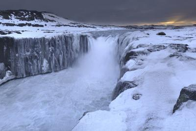 Panorama Image of Sunrise at Selfoss Waterfall by Raul Touzon