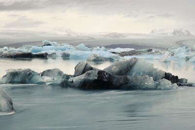 Panorama Images of Icebergs Floating in Jokulsarlon Glacial Lagoon by Raul Touzon