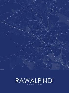Rawalpindi, Pakistan Blue Map