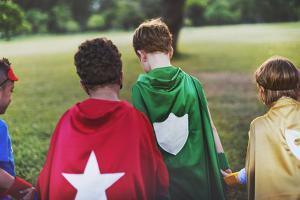 Superhero Kids Aspirations Fun Outdoors Concept by Rawpixel com