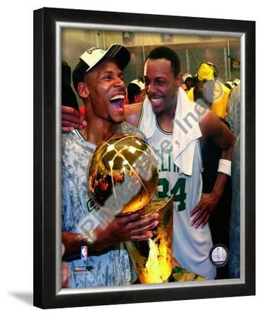 Ray Allen & Paul Pierce, Game Six of the 2008 NBA Finals With Trophy