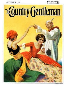 """""""Halloween Dance,"""" Country Gentleman Cover, October 1, 1928 by Ray C. Strang"""