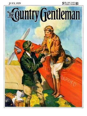 """""""Just Married, Just Landed,"""" Country Gentleman Cover, July 1, 1929 by Ray C. Strang"""