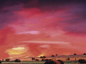 Hay Bales and Sunset, Wood County, TX by Ray Hendley