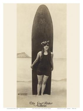 The Surf-Rider Hawaii, Girl with Surfboard, Photo Postcard c.1910 by Ray Jerome Baker