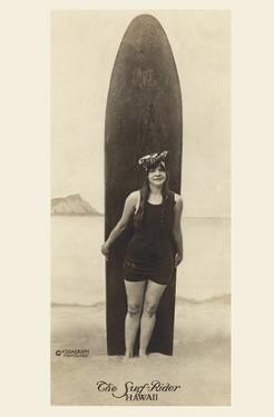 The Surf-Rider Hawaii, Girl with Surfboard, Photo Postcard c.1920 by Ray Jerome Baker