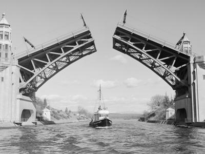Boat Passing beneath Montlake Bridge by Ray Krantz