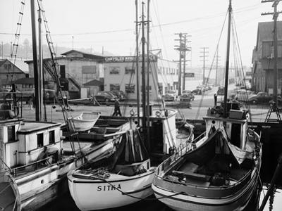 Fishing Boat Sitka and Others Moored at Seattle Docks by Ray Krantz