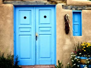 Blue Door on Adobe Building by Ray Laskowitz