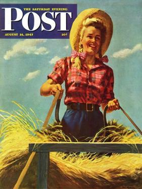 """Woman Driving Hay Wagon,"" Saturday Evening Post Cover, August 14, 1943 by Ray Prohaska"