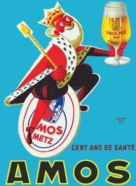 Amos Pils Biere (Beer)-Gambrinus, King of Beer - Brasserie Amos, Metz, France by Raymond Gay