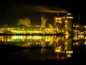 A Time Exposure, Taken at Night, of the Mill and the River by Raymond Gehman