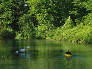 Kayakers Paddle in the Headwaters of the Susquehanna River by Raymond Gehman