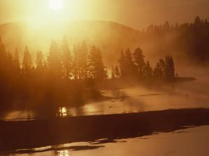 Twilight View of the Yellowstone River, Yellowstone, Wyoming by Raymond Gehman