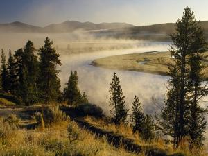 Veiled in Morning Mist, the Yellowstone River Winds Through Hayden Valley by Raymond Gehman