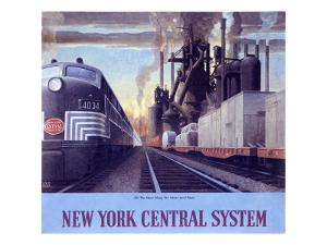 Ny Central Water Level Route Poster by Raymond Savignac