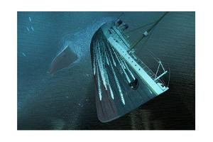 The Bow of the Titanic Hurtles Toward the Seafloor by Raymond Wong